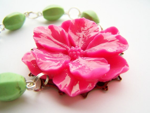 Neon - Hot Pink and Bright Apple Green Bracelet