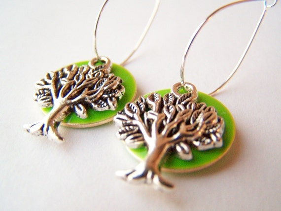 Tree Earrings - Trees - Bright Green Charms with Woodland Forest Theme - Family Tree - Tree of Life on Hoops