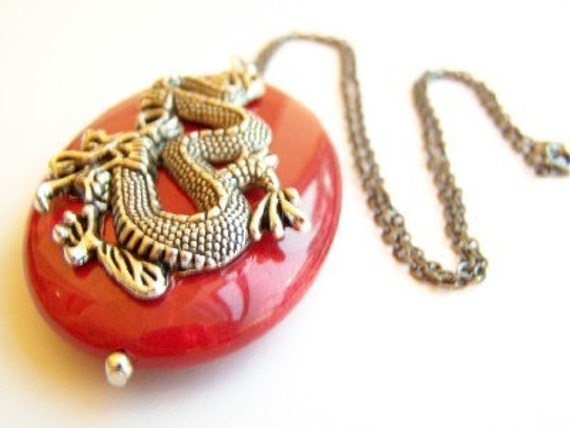 Year of the Dragon Necklace - Lunar New Year Necklace - DRAGON - Gunmetal Chain, Red Stone, & Chinese Dragon Fashion Jewelry
