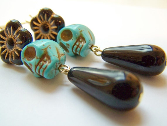 Turquoise Day of the Dead Earrings, Dia de Los Muertos Earrings, Black & Turquoise Skull Earrings, Black Glass Drops, Skulls and Flowers
