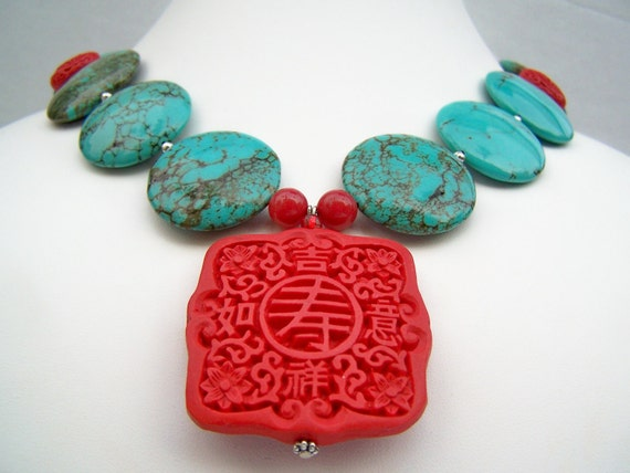 Turquoise Statement Necklace, Turquoise Jewelry, Chunky Stones &  Red Cinnabar with Pendant, Bold Turquoise Beaded Necklace