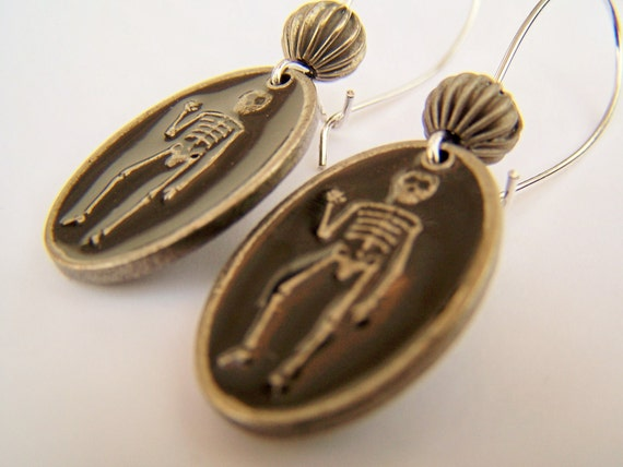 Halloween Earrings - Skeletons - Black Enameled Charm Earrings - Dancing Skeleton Earrings
