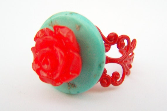 Frida Kahlo Inspired Ring - Consuela - Turquoise Button & Red Flower Adjustable Filigree Ring