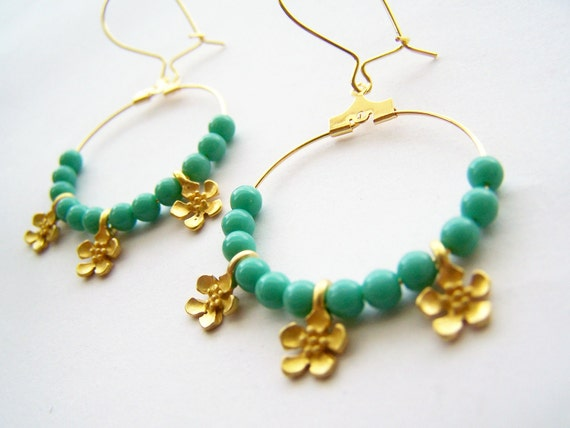 Turquoise & Gold Hoops - Aidenne - Czech Glass Beads and Matte Golden Flowers