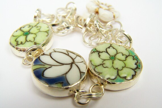 Pottery Shard Bracelet - Daffodil - Charm Bracelet with Floral Porcelain Links & Czech Glass Beads - Flower Jewelry