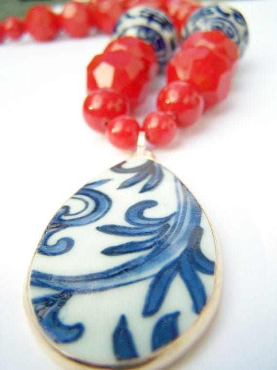 Bold, Chunky Red Necklace - Pottery Shard Necklace - Ruby - Glass Beads & Ming Porcelain Pendant - Statement Jewelry