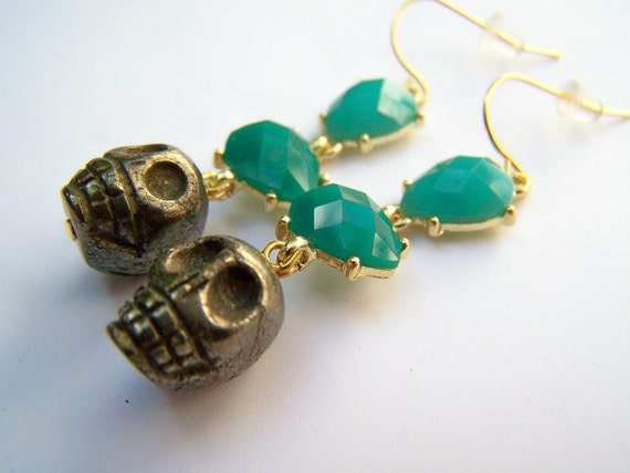 Pyrite Skull Earrings - Luxe - Turquoise & Aqua with Carved Fool's Gold Skulls - Goldtone Drops