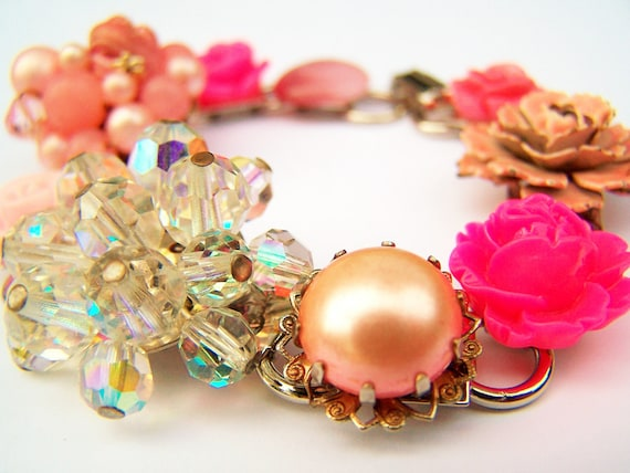 RESERVED for Catherine-Recycled Vintage Bracelet - 1950s and 1960 Earrings as Revamped Bracelet - Pink - Flowers & Crystals - Pink Wedding