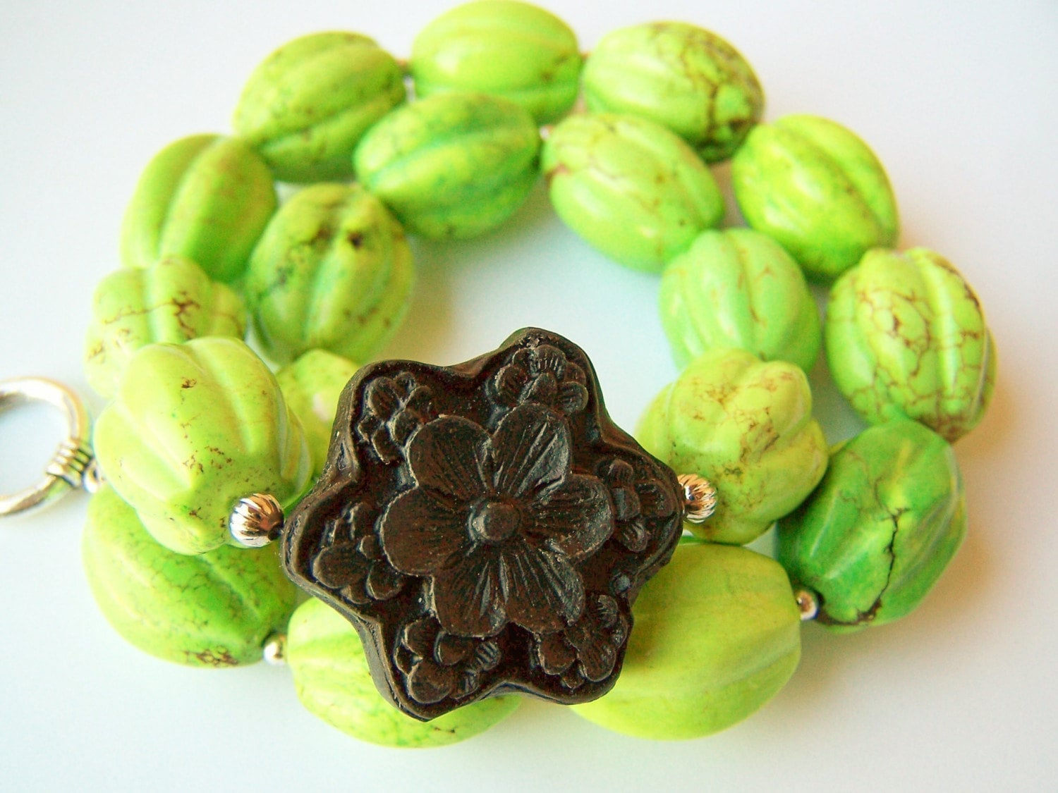 Margarita Black Carved Cinnabar Flower and Spring Green