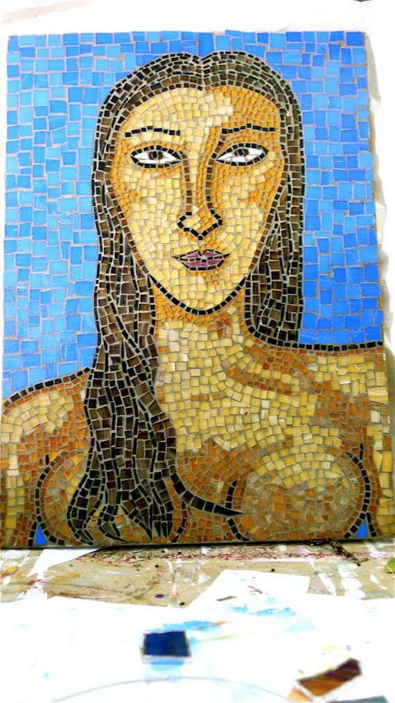 Glass Mosaic Art Piece Portrait - Woman in Blue- One of a Kind Mosaic-