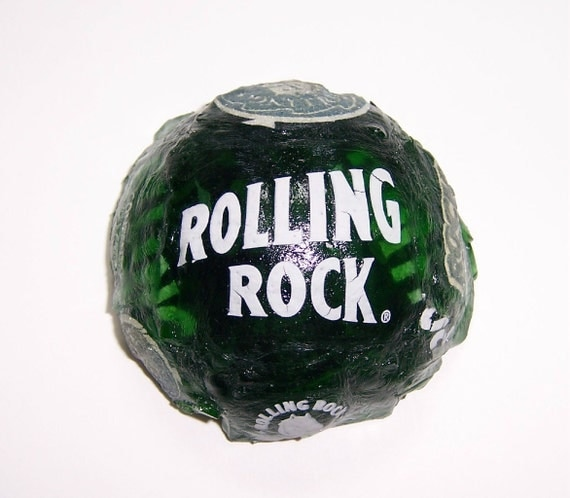 Recycled Rolling Rock Beer Bottles Cast Paperweight 110B