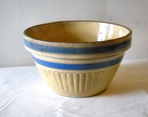 Yellow Ware Bowl Blue White Stripes Antique