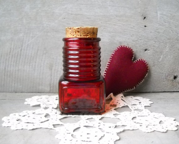 Vintage Wheaton Glass Ruby Red Jar Cork Stopper Apothecary Spice Bottle