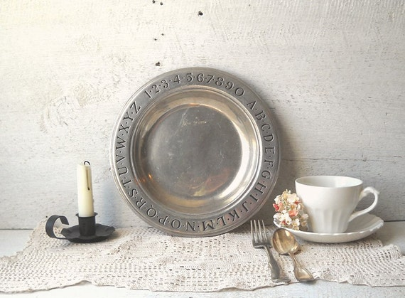 Vintage Wilton Pewter ABC Plate Bowl Childs Alphabet Numbers Primitive Colonial