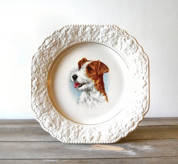 Lord Nelson Pottery Dog Plate Terrier 1970s England