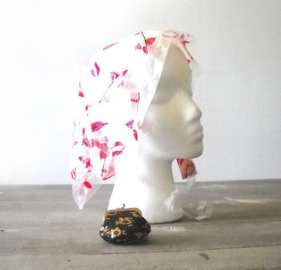 Vintage Plastic Rain Bonnet In Change Purse Key Chain
