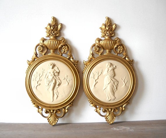 2 Vintage Syroco Greek Women Plaques Plastic Grecian Lady Cream Gold Shabby Cottage