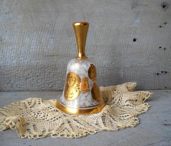 Vintage Imperlux Cased Glass Crystal Bell 24K Gold