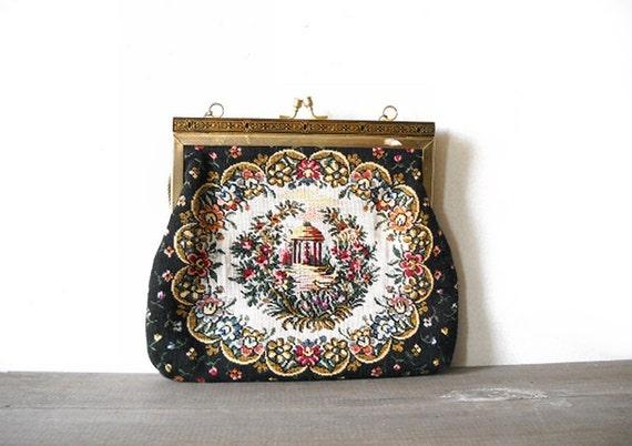 Vintage Tapestry Purse - Black Floral Gazebo - Goldtone Frame
