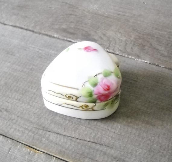 Antique Nippon Trinket Box - Shabby Pink Roses