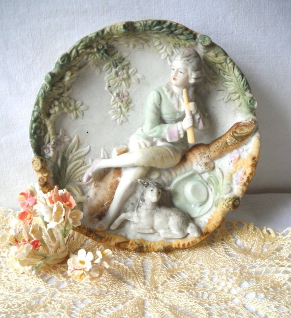 Vintage Bisque Porcelain - Figural Wall Plaque - Shabby Chic - Colonial Man & Lamb