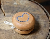 We Love Yo-Yos - Blue Embroidered Heart