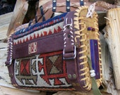 Hand shoulder carpet bag from antique rug tribal ethnic bohemian geometric steampunk eco