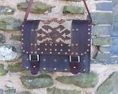 Purse Messenger field bag Antique rug  vintage leather
