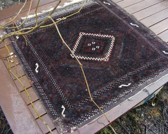 Antique tribal nomad saddle bag-face small rug