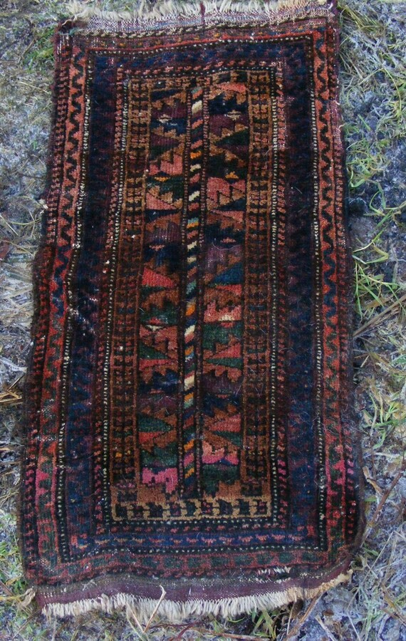 Antique Beluch Balisht, small tent bag, tribal nomad textile rug