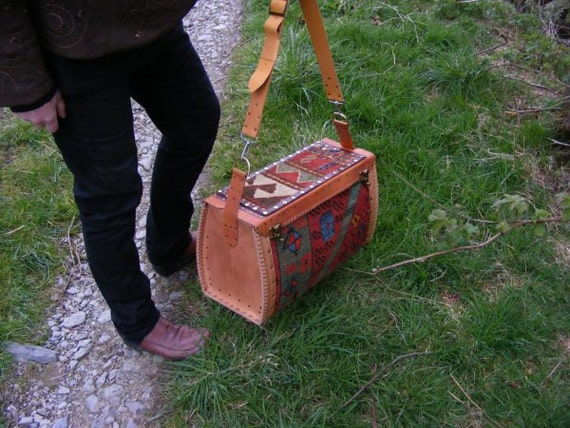 Leather Carpet Bag Carpet Bag in Antique Persian