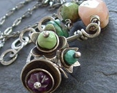 Silver Flower necklace Funky Flower Bouquet Sterling silver wire wrap colorful gemstone cluster