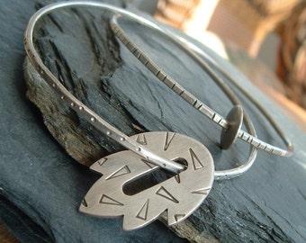 Silver Bangle Bracelet Leaf funky stamped silver bracelet