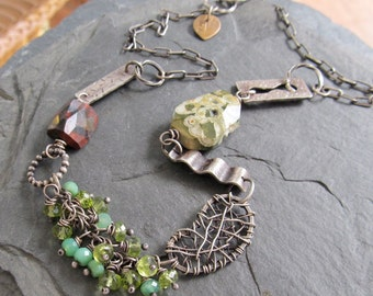 Necklace Choker Sterling silver Green Turquoise Gemstone Funky Wire Wrapped Mixed up