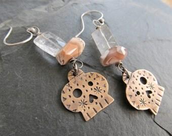 Sugar Skull Earrings dangling earrings Sterling Silver Gemstone Day of the Dead stamped Mixed metal