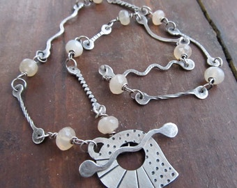 Short Silver Necklace Funky Modern Toggle OOAK Forged Chain Stamped Statement Leaf Necklace