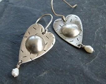 HEART Earrings Sterling Silver stamped funky LOVE Valentine