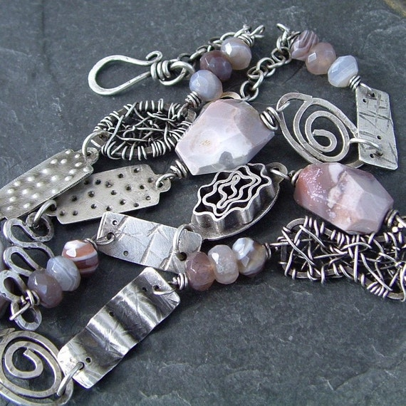 Short Necklace Choker silver Funky Artsy Chunky Mauve bits and Pieces