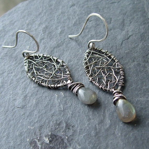 SALE Wire Wrapped Earrings dangling sterling silver Labradorite funky rustic Web