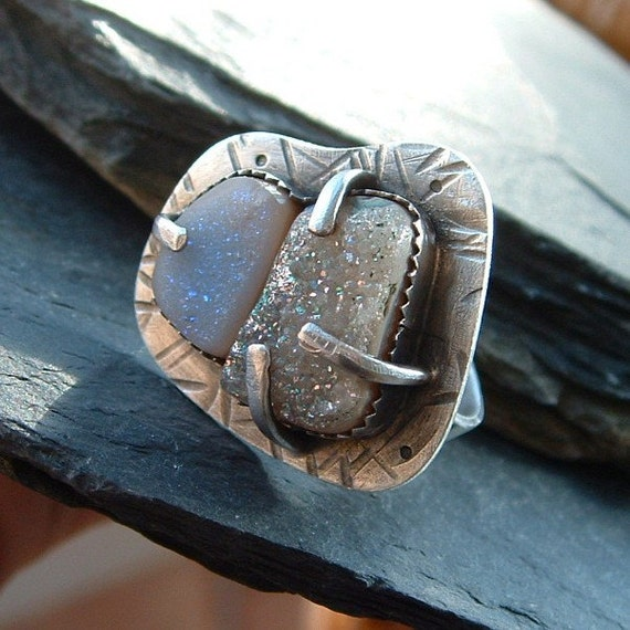 Druzy Ring Silver Chunky Silver Ring Sparkly Drusy Large Cocktail Ring Funky silver Jewelry Size 8.5 Ring