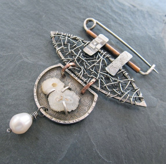 Brooch Sterling Silver Funky Drusy One of a Kind wire wrapped rustic artsy