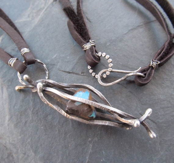 Long Necklace Silver rustic Leather Opal Caged gemstone Sterling Sea Unisex Pendant Mens Women