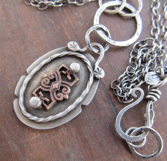 Long Sterling Necklace Filigree Pendant Medallion Chain Victorian Antique style