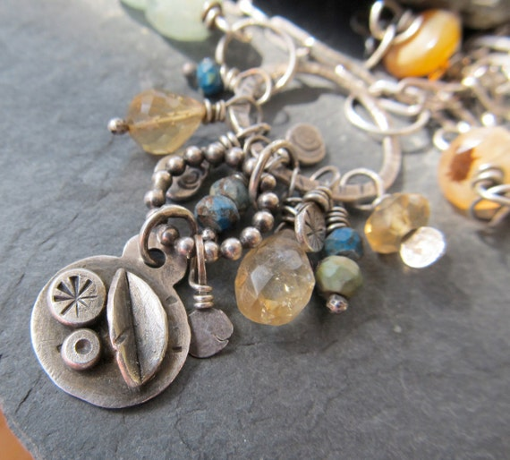 CHARM Necklace Gemstone cluster Pendant Boho Silver Funky Blue yellow wire wrapped jewelry