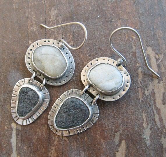 Dangle Earrings Beach Stone Sterling Silver Funky