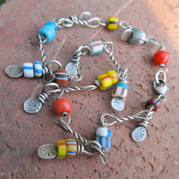 SALE ANKLET Sterling Ankle Bracelet wire wrapped African Trade Beads Charm Sexy Funky WAS 60.00