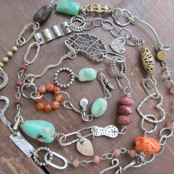 Long Funky Sterling Necklace Gemstone charms Turquoise Orange  wire wrapped