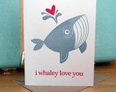 """Letterpress card and envelope with """"I Whaley Love You"""" in Marine blue and bright pink (A2 Size)"""