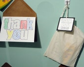 Coloring thank you notecards and envelopes muslin bag with crayons (set of 8)