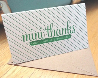 "Mini Letterpress folded notes and envelopes with ""Mini Thanks"" - package of 6"